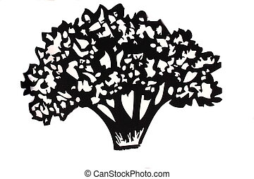 tree image - On a white background is shown in black poplar...