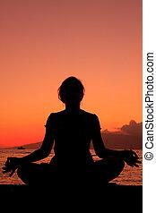 meditação, pôr do sol