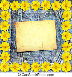 Old vintage postcard with beautiful yellow flowers on blue...