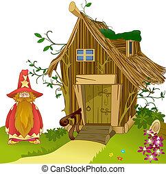 fantastyczny, dom, Robiony, gałązki