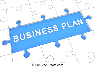 Business Plan - puzzle 3d render illustration with word on...