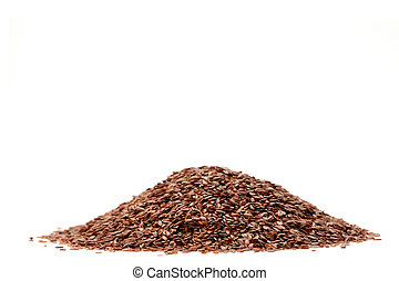 Brown Linseed or Flax seed isolated on white background
