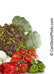Fresh vegetables - Delicious fresh vegetables on white...