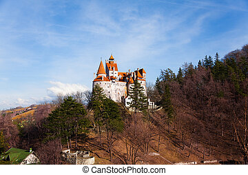 Bran Castle on hill top view in Romania - Bran Castle...