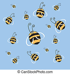 honeybee - funny bee on a blue background vector