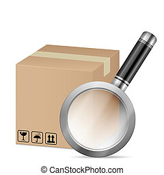 box and magnifying glass on a white background.