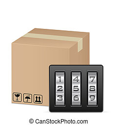 box and combination lock on a white background
