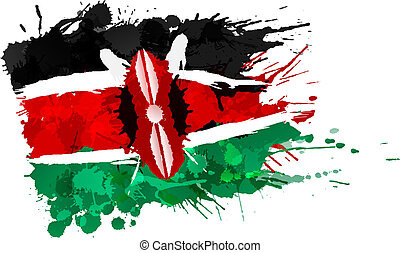 Flag of Kenya made of colorful splashes