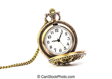 old pocket watch on white background