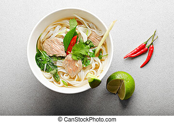 Pho bo soup above view - Vietnamese pho bo soup on a beaf...