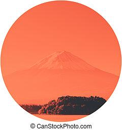 Mt Fuji with lake Kawaguchi-ko Yamanashi Japan
