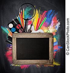 escola, conceito, ferramentas, quadro-negro