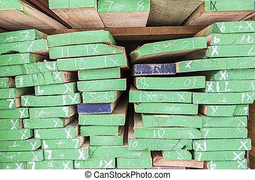 Wood planks prepare in industry wood