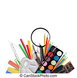 school tools on white background - Concept of school tools...