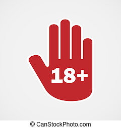 Age limit. Hand icon