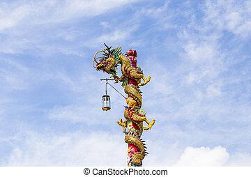 kék, Ég, felhő, kínai, sárkány