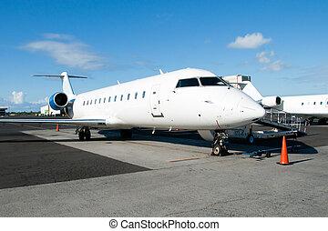 乗ること, 準備ができた, 空港, 飛行機