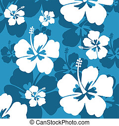 Seamless pattern with Hibiscus flowers on blue background,...