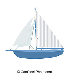 Sailing ship on white background, vector illustation