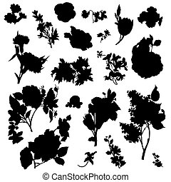 Vintage Victorian Flowers Clip Art - Flower silhouettes in...