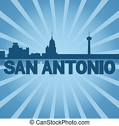 San Antonio skyline reflected with blue sunburst...