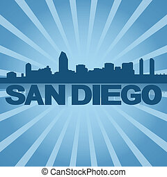 San Diego skyline reflected with blue sunburst illustration