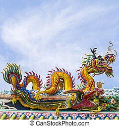 kék, kínai, tető, Ég, sárkány, halánték, felhő