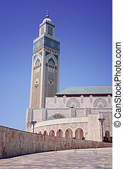 Casablanca, Morocco - Exterior of Hassan II mosque with blue...