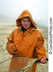 Boy with fishermans coat - Young amber cather - fisherman...