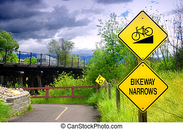 Bikeway Narrows Sign
