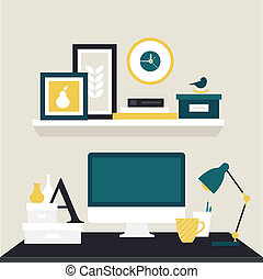 designer workspace vector illustration icon flat style