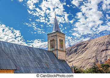 Church in Pisco Elqui - Church with Andes mountains in the...