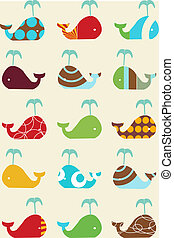 whales retro seamless pattern - whales retro seamless...