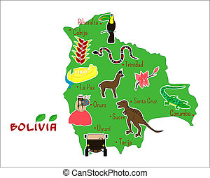 map of Bolivia with typical features - vector illustration...