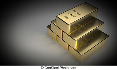 Stacked Gold Ingots Rendering - Realistic 3d rendering of 6...
