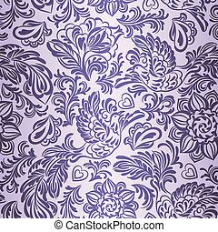 Baroque pattern with birds and flowers, purple