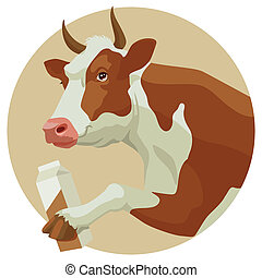 Cow and milk - Brown cow and package of milk on beige...