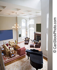 mansion large living room with piano