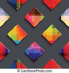 Rainbow colored rectangles on gray seamless pattern -...