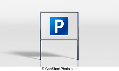 traffic signage stands parking - 3d render of traffic...