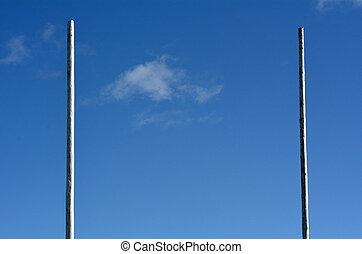 Goal posts for football, rugby union or league on field....