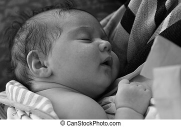 Newborn baby sleep in his mothers arms. (BW), Concept photo...