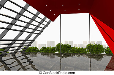 Red Abstract Wall office interior modern