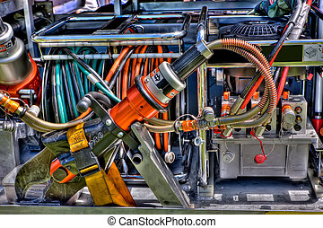 Jaws of life: the high powered cutting machinery used to cut...