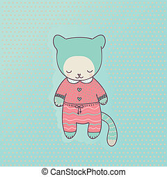 Cute cat clothing - Cute pet cat dressed in pink pajamas....