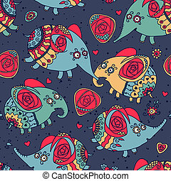 Cheerful seamless pattern with elephants and roses. Vector...