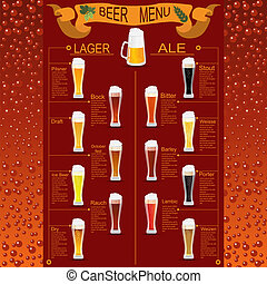 Beer menu set, creating your own infographics Vector...