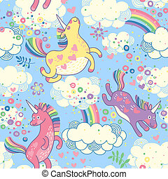 Cute seamless pattern with rainbow unicorns in the clouds...