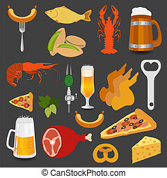 Beer snacks, set icons for creating your infographics Vector...