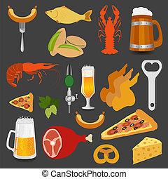 Cerveja, Lanches, jogo, ícones, criando
